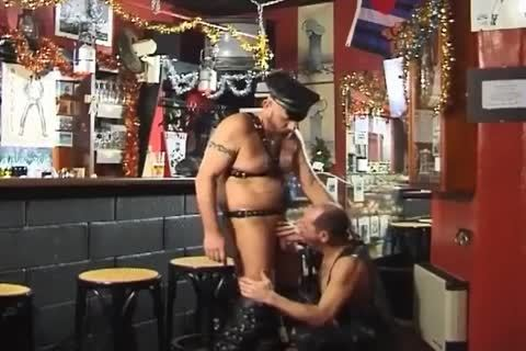 those Two large boyz Wearing Leather have a pleasure taut Sex At The Bar