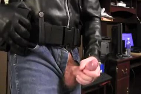Border Patrol Jerks In Leather Jacket And moist Jeans