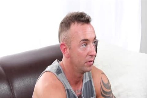 GayCastings Tatted Muscle chap Jerks Off On web camera For $