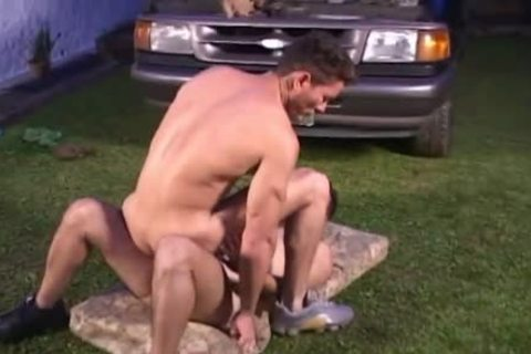 Two lustful homo Beefcakes wazoo drilling On The Lawn