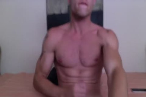 Justin Matthews Has A ball goo Fest On His Six-Pack Abs