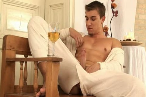 This gracious homo man Comes Home And Drinks Some Wine before His Has A Sensual Self Devotion Session
