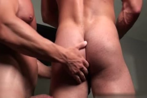 Muscle Bodybuilder fake penis And sex cream flow