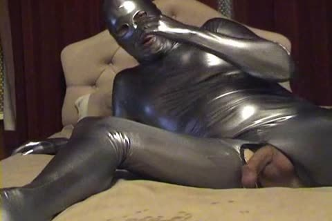 Silver Spandex Catsuit - vibrator, jack off And sperm Zentai