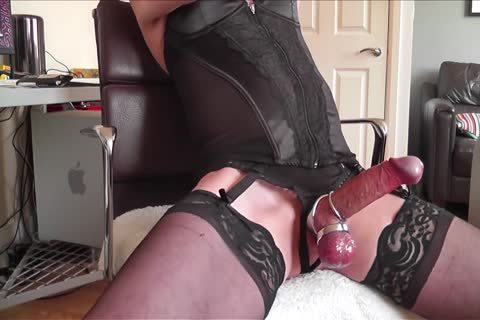 black Corset, nylons, steel Rings And sperm