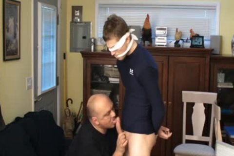 Straight Captive Lad, Fastened And Gagged, Made To ball batter