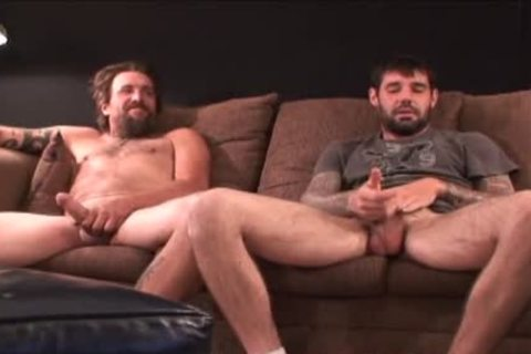 2 coarse bushy Straight Redneck Stroking together