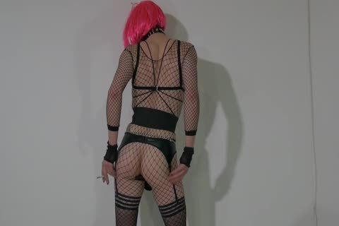 pretty Crossdresser Partying At Home In lewd Outfit