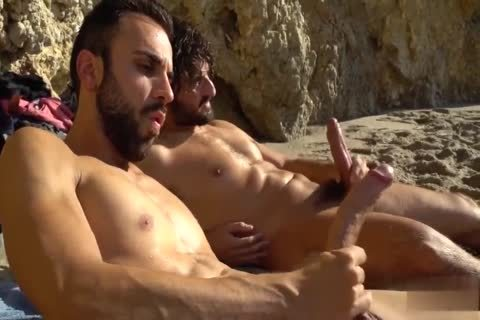 big cocks jerking off AT THE BEACH