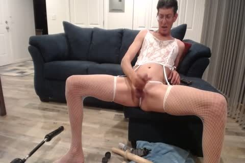 Crossdressing Sissy prostitute Faggot With plow Machine Eats cum