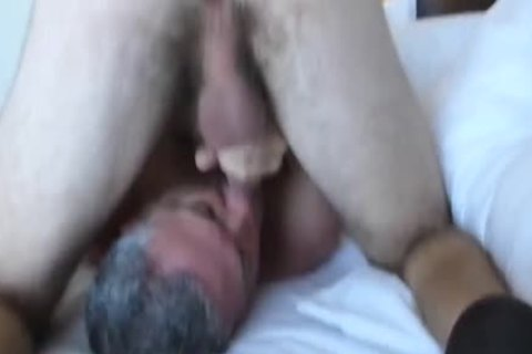 Bearded hairy 3-WAY With A chick: RIM-CHAIN oral-69-BB-HJ-cum