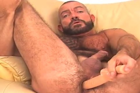 large and hirsute, bearded BEAR works ass w/ sex toy